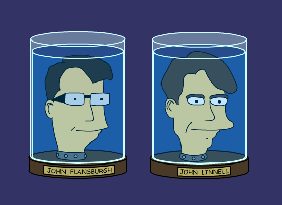 The Johns as they might look in a Futurama cameo.